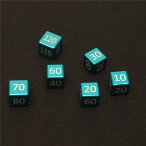 CNC Machined Aluminum Damage Counters  Set (6 pcs) Light Blue/Teal Anodized