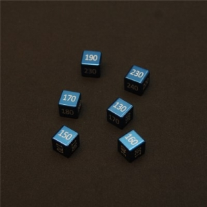 "CNC Machined Aluminum ""Big"" Damage Counters (6 pcs) Water Blue Anodized"