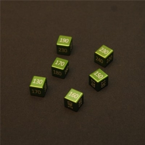 "CNC Machined Aluminum ""Big"" Damage Counters (6 pcs) Grass Green Anodized"