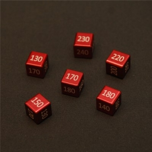 "CNC Machined Aluminum ""Big"" Damage Counters (6 pcs) Fire Red Anodized"